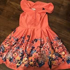 Girls Knitworks dress floral peach size 12
